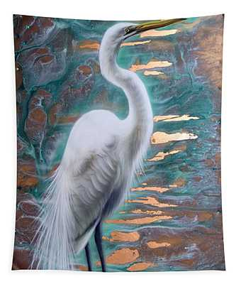 Copper Egret Tapestry