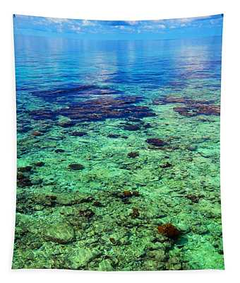 Coral Reef Near The Island At Peaceful Day. Maldives Tapestry