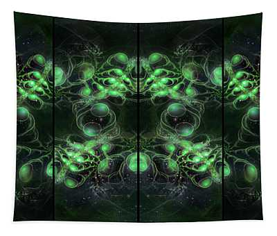 Tapestry featuring the digital art Cosmic Alien Eyes Green by Shawn Dall