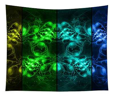 Tapestry featuring the digital art Cosmic Alien Eyes Pride by Shawn Dall