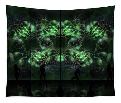 Tapestry featuring the digital art Cosmic Alien Vixens Green by Shawn Dall