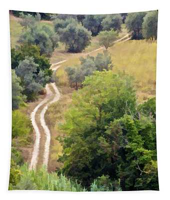 Country Road Of Tuscany Tapestry