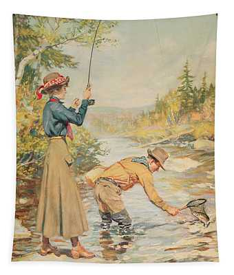 Couple Fishing On A River Tapestry
