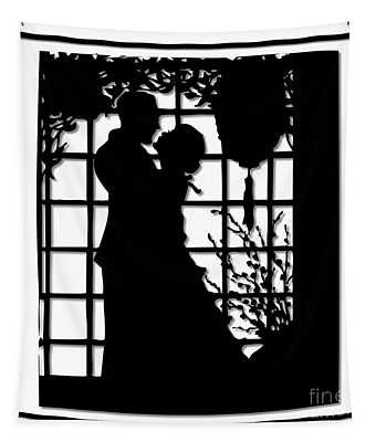 Couple In Love Silhouette Tapestry