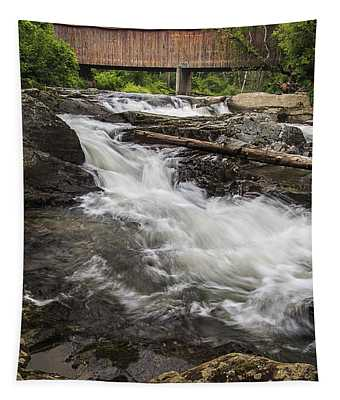 Covered Bridge And Waterfall Tapestry