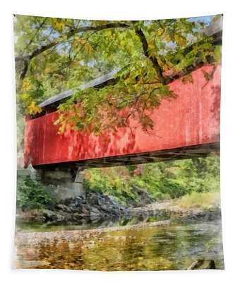 Red Covered Bridge Watercolor 2 Tapestry