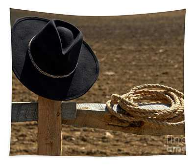 Cowboy Hat And Rope On Fence Tapestry