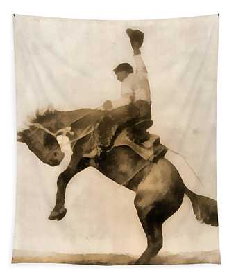 Cowboy On Bucking Bronco Tapestry