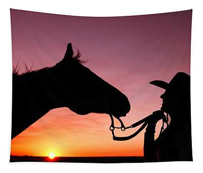 Cowgirl Sunset Tapestry