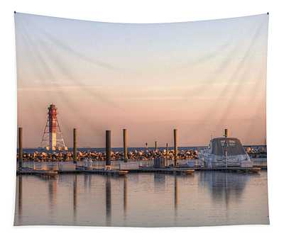 Craighill Channel Rear Lower Range Lighthouse Tapestry by JC Findley
