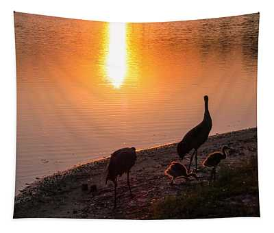 Cranes At Sunset Tapestry