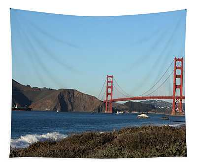 Crashing Waves And The Golden Gate Bridge Tapestry