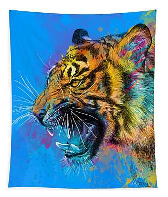 Crazy Tiger Tapestry