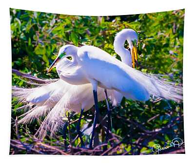 Criss-cross Egrets Tapestry