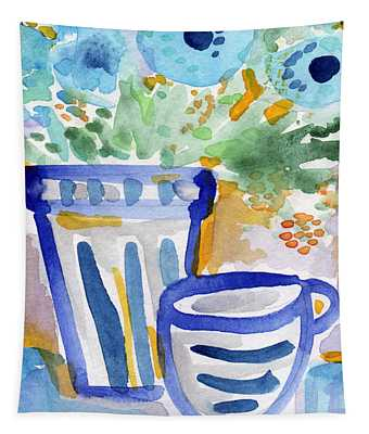 Cups And Flowers-  Watercolor Floral Painting Tapestry