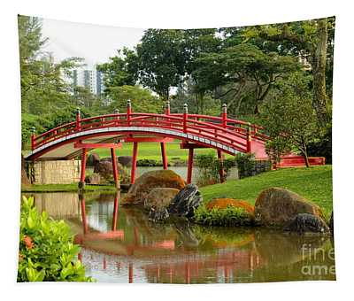 Curved Red Japanese Bridge And Stream Chinese Gardens Singapore Tapestry