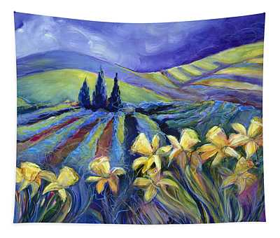 Daffodils And Stormclouds Tapestry