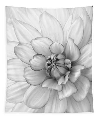 Dahlia Flower Black And White Tapestry