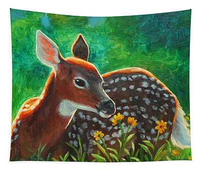 Daisy Deer Tapestry