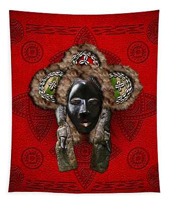 Dan Dean-gle Mask Of The Ivory Coast And Liberia On Red Leather Tapestry