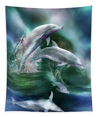 Tapestry featuring the mixed media Dance Of The Dolphins by Carol Cavalaris