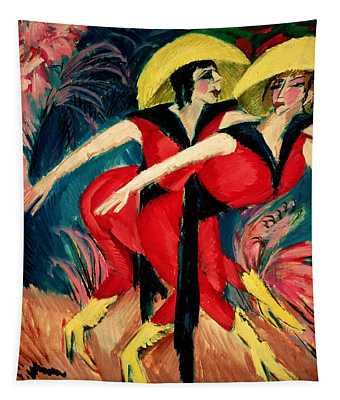 Dancers In Red Tapestry