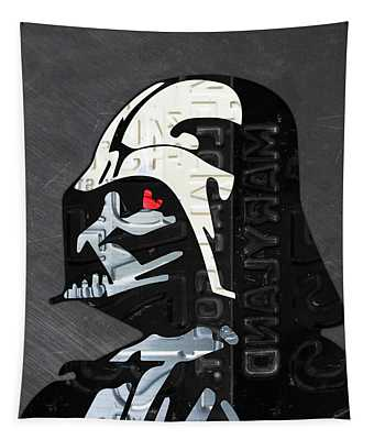 Darth Vader Helmet Star Wars Portrait Recycled License Plate Art Tapestry