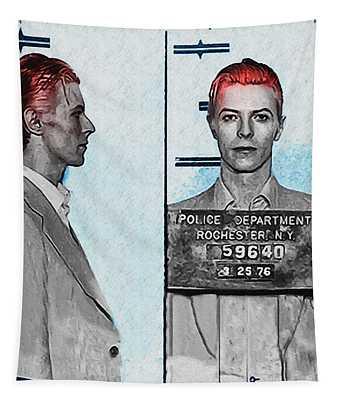 David Bowie Mug Shot Tapestry