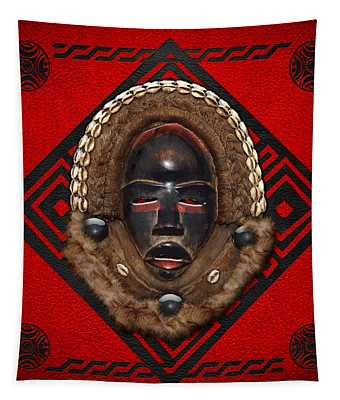 Dean Gle Mask By Dan People Of The Ivory Coast And Liberia On Red Leather Tapestry