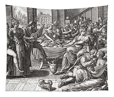 Debauchery And Licentiousness In The 16th Century, After The Painting By Marten De Vos.  From Tapestry