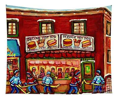 Decarie Hot Dog Restaurant Cosmix Comic Store Montreal Paintings Hockey Art Winter Scenes C Spandau Tapestry