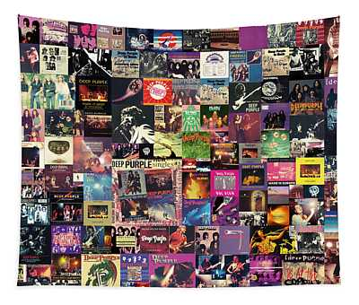 Deep Purple Collage Tapestry