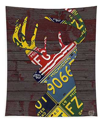 Deer With Antlers Michigan Recycled License Plate Art Tapestry