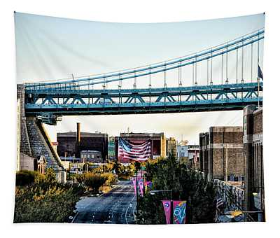 Delaware Avenue And The Ben Franklin Bridge Tapestry
