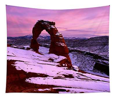 Delicate Arch In Winter, Arches Tapestry