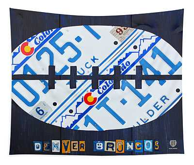 Denver Broncos Football License Plate Art Tapestry
