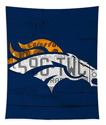 Denver Broncos Football Team Retro Logo Colorado License Plate Art Tapestry