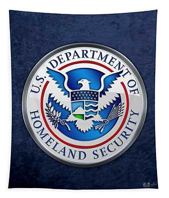 Department Of Homeland Security - D H S Emblem On Blue Velvet Tapestry