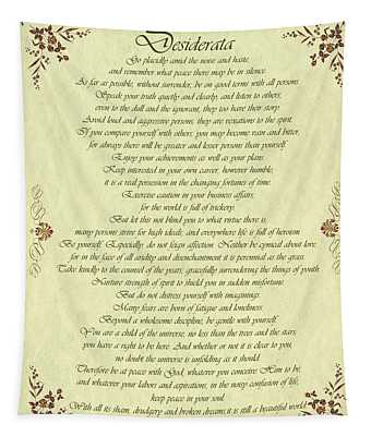 Desiderata Gold Bond Scrolled Tapestry