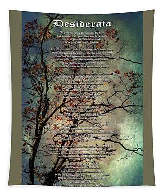 Desiderata Inspiration Over Old Textured Tree Tapestry