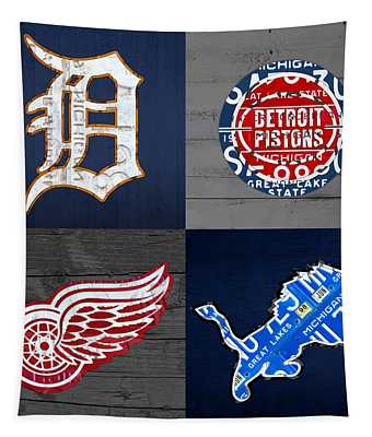 Detroit Sports Fan Recycled Vintage Michigan License Plate Art Tigers Pistons Red Wings Lions Tapestry