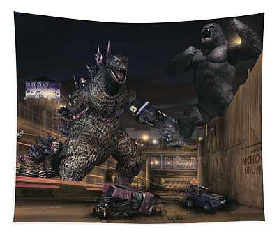 Detroit Zoo - Godzilla Vs King Kong Tapestry