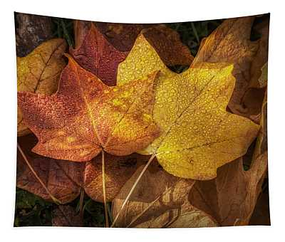 Dew On Autumn Leaves Tapestry