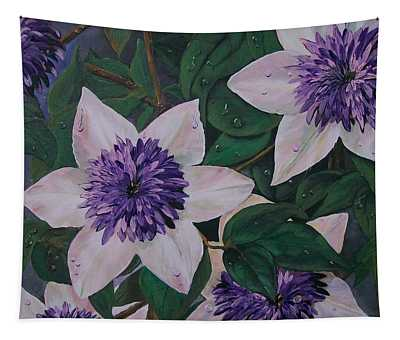 Clematis After The Rain Tapestry