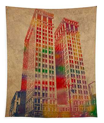 Dime Building Iconic Buildings Of Detroit Watercolor On Worn Canvas Series Number 1 Tapestry