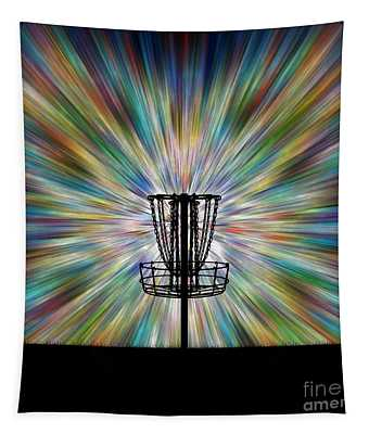 Disc Golf Basket Silhouette Tapestry