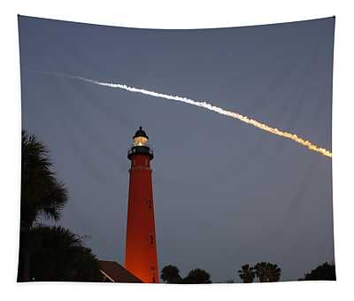 Discovery Booster Separation Over Ponce Inlet Lighthouse Tapestry
