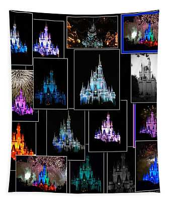 Disney Magic Kingdom Castle Collage Tapestry