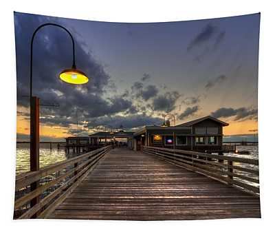 Dock Lights At Jekyll Island Tapestry