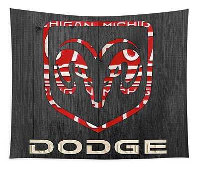 Dodge Vintage Logo License Plate Art Tapestry